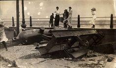 During the eye of the 1895 Hurricaine.  Battery, Charleston SC