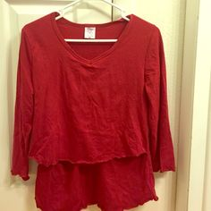 Red nursing top This has been washed but never worn. Nursing pajama top. Breast is best Tops Tees - Long Sleeve