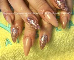 Nude & pink glitter acrylic nails, CND shellac polish finish