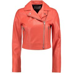 T by Alexander Wang Textured-leather biker jacket ($700) ❤ liked on Polyvore featuring outerwear, jackets, tops, coral, coats, red biker jacket, biker jacket, short jacket, cropped moto jacket and red moto jacket