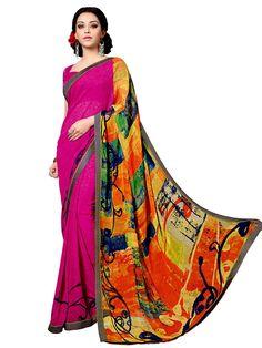 Magnificent rani pink and orange color abstract print saree. Item code : SUL14034 http://www.bharatplaza.com/new-arrivals/sarees.html