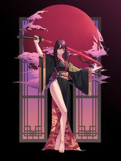 Anime Kimono, Manga Anime, Anime Art Girl, Manga Girl, Fantasy Character Design, Character Art, Female Characters, Anime Characters, Female Samurai