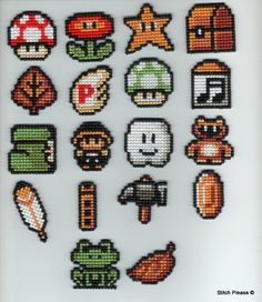 Super Mario Bros. Items Cross Stitch. $5.00, via Etsy.
