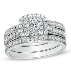 1 CT. T.W. Diamond Double Frame Bridal Set in 10K White Gold || I want this so fucking bad!!