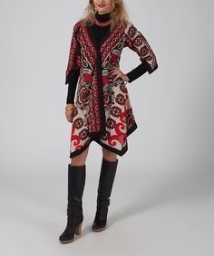 Love this Red & White Paisley Tie-Neck Handkerchief Dress - Plus Too by Aller Simplement on #zulily! #zulilyfinds