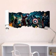 New The Avengers Mural Removable Self Adhesive Vinyl Decal for Living Room Kids Bedroom Home Decor Art Wall Stickers Decoration Dinosaur Wall Stickers, Removable Wall Stickers, Wall Stickers Home Decor, Baby Room Decals, Kids Wall Decals, Hulk, Iron Man, Superhero Wall Art, Kids Room Art