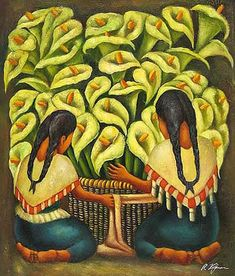 Mexican Art Oil Painting #CST-36:Diego Rivera Calla Lilly Vendor                                                                                                                                                                                 More