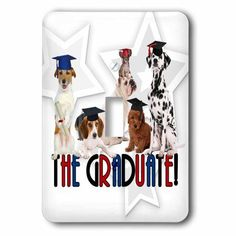 3dRose Pack of Dogs in Cap and Gowns for the Graduate., 2 Plug Outlet Cover