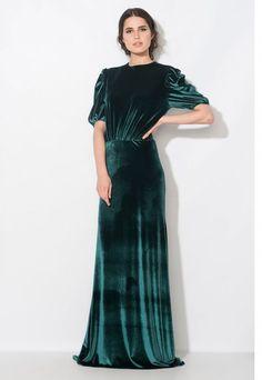 rochie lunga catifea verde - rochii de seara lungi