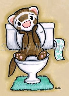 Ferret Art ACEO print  Potty Painting Thinking  by ShellyMundelArt