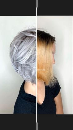 Brassy hair to silver. Check the link below for detailed formula. -Brassy hair to silver. Check the link below for detailed formula. Amazing transformation from orange brassy hair color to icy silver hair. Brassy Blonde, Brassy Hair, Icy Blonde, Platinum Blonde, Yellow Blonde Hair, Blonde Honey, Light Blonde, Grey Hair Transformation, Cheveux Oranges