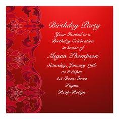 Red Swirl Damask Birthday Invitation