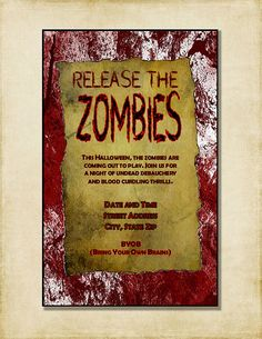 Halloween Party Invitation Release The Zombies by AshleyMartinDesigns, $7.00