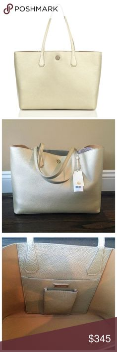 """✨NWT✨ Tory Burch Perry Tote Metallic Gold Leather NWT! Authentic Tory Burch Perry Tote in soft metallic gold leather Unlined. Interior has one open pocket and one cell pocket. Double strap handles with a 9.5 inch drop. 15""""x6""""X11.25"""". ***NO TRADES*** Tory Burch Bags Totes"""