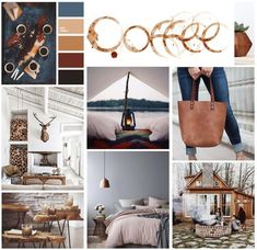 Warm + Cozy Mood board with warm browns and blues. Leather bag, cabin with a fire pit, fireplace with a deer mount, coffee stain.