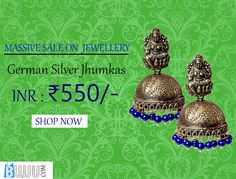German Silver Jhumkas Navy Blue Beads Product code: JUJA90J089 Retail price: 688/-  Sale price : 550/-