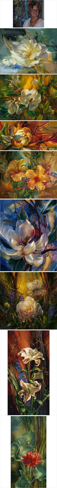 美国艺术家Vie Dunn - Harr花卉绘画作品欣赏~