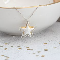Are you looking for the perfect gift for someone special, maybe for  her birthday or Christmas? How about this gorgeous triple star necklace  in silver with a rose or yellow gold vermeil star?#jewellery #jewelry #star #necklace #silver #gold #wedding #boho #handmade #three #rosegold #pendant