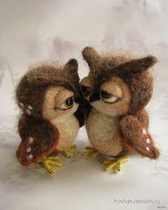Купить Совушки, Войлочные, Коллекционные куклы, Куклы и игрушки ручной работы. Мастер (KotoFeya) . интерьерная игрушка