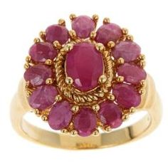 @Overstock - Oval-cut Indian ruby ring18-karat yellow gold over sterling silver jewelry $101.69