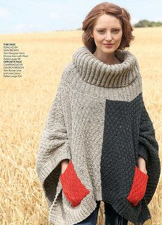 Ravelry: Roll Neck Poncho pattern by Sian Brown Knitwear Design Poncho Knitting Patterns, Jumper Patterns, Hand Knitting, Big Knits, Knitting Magazine, Knitted Poncho, Pulls, Knit Crochet, Knitwear
