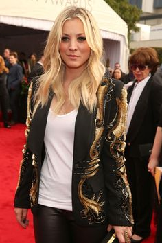 Actress Kaley Cuoco, wearing cool jacket, attends the 55th Annual GRAMMY Awards at STAPLES Center on February 10, 2013 in Los Angeles, California.  (Source: Christopher Polk/Getty Images North America). #Fashion