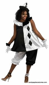 Black & White Harlequin Clown Costume