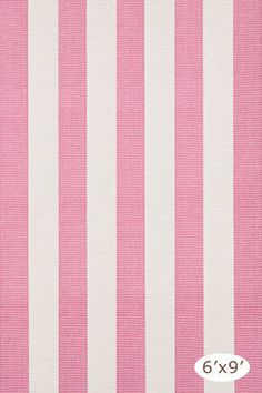 Yacht Stripe Woven Cotton Rug- Pink & Off-White