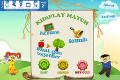 KIDiPLAY Match ($0.99) an entertaining & educational memory matching game that helps kids develop and practice their cognitive, fine motor, language, visual & auditory skills. Kids also get to hone their reasoning skills & the understanding of function & relationship between objects by matching cards that display pictures of things that go together. Recommended *Three different matching games in one app  -PICTURES with over 80 pictures to match in 6 categories:  Ages: 2-8