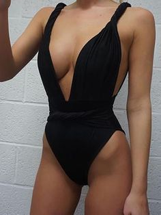 Alluring Twisted Front Ruched Plunge One-piece Swimsuit