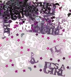 Metallic it's a girl confetti.  Great for scattering on tables or place in your invitations. £2.50 from the Fuschia Boutique at www.fuschiadesigns.co.uk.