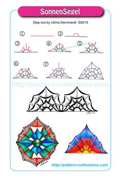 This section contains step by step instructions to create artwork. Combine these with your regular drawing or tangling. You are encouraged to credit the person that created the step-out. Tangle Doodle, Tangle Art, Doodle Art, Zen Doodle Patterns, Zentangle Patterns, Doodle Borders, Zentangle Drawings, Doodles Zentangles, Mandala Design