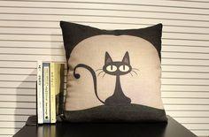 cotton linen Fabrics pillow sham Black cat printed Pillow Cover pillow pattern cushion cover lovely cat pillowcase. $15.00, via Etsy.