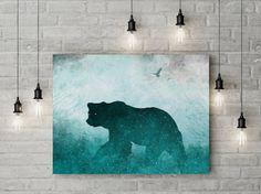 36x24 stretched canvas bear art ready to hang by TheMindBlossom A professional reproduction of my original artwork. Printed on vibrant, fade-resistant, gallery-wrapped canvas. It's ready to hang, and does not require framing!