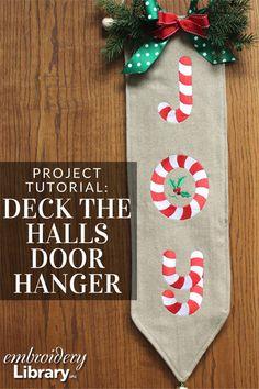 Deck the Halls Door Hanger   (PR2054) from www.Emblibrary.com