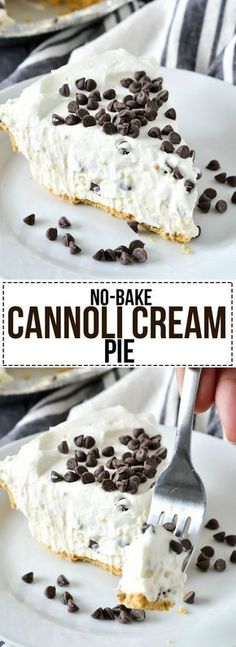An easy and delicious recipe for luscious No-Bake Cannoli Cream Pie filled with cream cheese, ricotta cheese and mini chocolate chips.