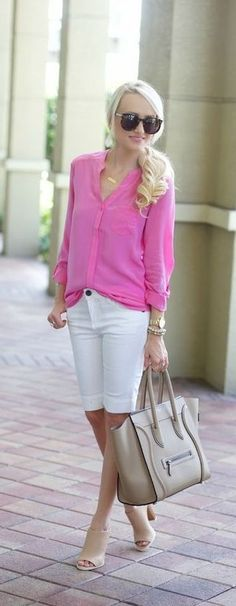 Nice length of shorts, casual but kinda dressy blouse, heels of course. Short Outfits, Casual Outfits, Fashion Outfits, Womens Fashion, Fashion Trends, Spring Summer Fashion, Spring Outfits, Bermuda Shorts Outfit, Pretty Outfits