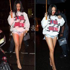 Rihanna wearing adidas Run-DMC Kings from Queens sweatshirt, Levi's vintage cut off shorts, Manolo Blahnik Chaos ankle-strap sandals.