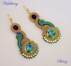 Mój Sutasz-Nowa Miłość Soutache Necklace, Beaded Earrings, Beaded Jewelry, Handmade Necklaces, Handmade Jewelry, Soutache Tutorial, Earring Trends, Imitation Jewelry, Polymer Clay Charms