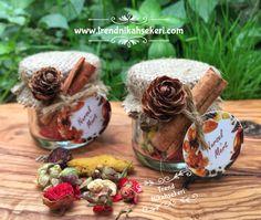 Kozalak ve tarçın süslemeli bitki çayı hediyeliklerimiz