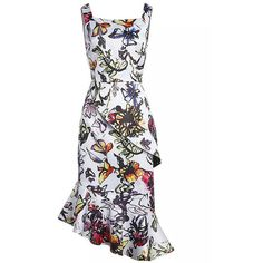 SheIn(sheinside) White Starp Floral Print Fishtail Dress ($75) ❤ liked on Polyvore featuring dresses, multicolor, going out dresses, asymmetrical dress, white sleeve dress, white floral dress and floral cocktail dress