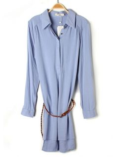 blue long sleeve lapel dress