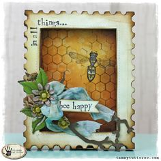 Tuesday Tutorial: Bee Happy Die Cut Shadowbox Frame by Tammy Tutterow.