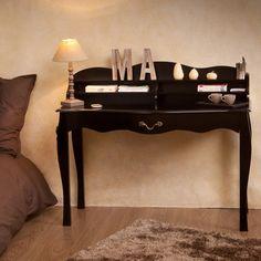 Bureau en bois placage vernis naturel longueur 110 cm for Bureau en solde