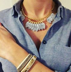 Stella & Dot Asher  necklace and stackable bracelets. 2017 Fashion. Beautiful black etching atop white coated feather motifs hang from a semi shiny gold collar.  Spring accessories. Statement necklace