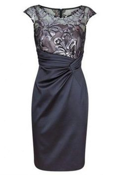 Dark Grey Sheath Short Mother of The Bride Dress Ruched with Lace. Mother Of Bride Outfits, Mother Of Groom Dresses, Mothers Dresses, Mother Of The Bride, Mob Dresses, Satin Dresses, Short Dresses, Bride Dresses, Dresses Online