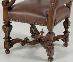 Louis XIV armchair | Louis XIV Leather Armchair | Chairs | Inessa Stewart's Antiques