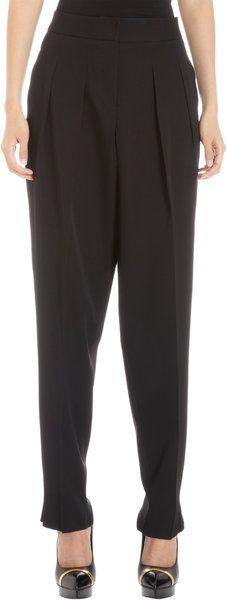 BOTTEGA VENETA Black Pleated Front Cropped Trousers - Lyst