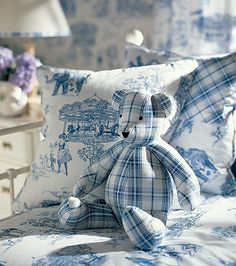 shabby chic check blue teddy bear