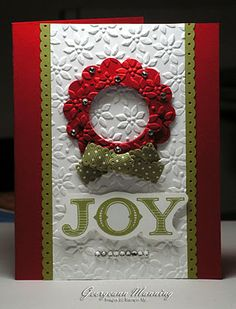 Beautiful Card!:  using the largest and regular Scallop circle punches in Real Red to make the wreath, Lucky Limeade punched with the Dotted Scallop Ribbon Border punch for the trim, Old Olive Ribbon, Petals-a-Plenty Embossing Folder for the White and Wreath pieces, Welcome Christmas Stamp Set in Lucky Limeade ink, and Real Red cardbase.   add Rhinestones, and all done!